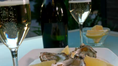 oysters : White wine glasses and a plate of oysters with lemon on a picnic table Stock Footage