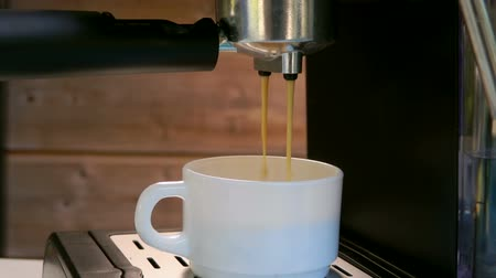 cafetaria : Espresso coffee is poured into a white cup from the coffee machine