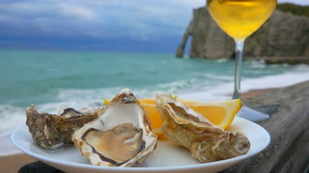 normandie : Plate full of fresh oysters and a glass of white wine against the ocean on a cloudy day in Etretat, France Stock Footage