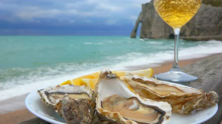 shellfish dishes : White wine is poured in glass against plate with oysters on the background of the ocean coast on a cloudy day in Etretat, France Stock Footage