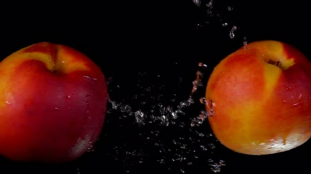 şeftali : Two sweet ripe peaches collide splashing water on a black background