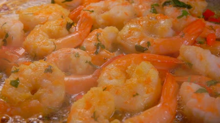 osztriga : Delicious shrimps stewed in boiling sauce with herbs in a pan. Shrimp Recipe