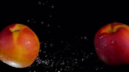 абрикосы : Two sweet ripe peaches collide splashing water on a black background