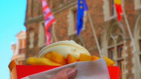 majonez : Hand takes french fries and dips it in sauce on the background of an old Belgian building with flags Wideo