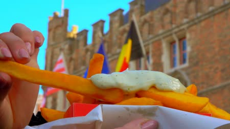 majonéz : Hand takes french fries and dips it in sauce on the background of an old Belgian building with flags Stock mozgókép