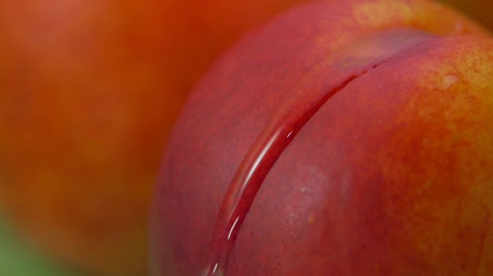 pesche noci : Close-up of a drop of water flowing over the surface of a ripe juicy peach