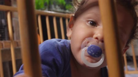 puericultura : Curly brown-eyed boy kid with a pacifier in his mouth sits in the playpen and carefully looks at the camera