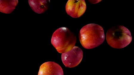 pesche noci : Juicy tasty peaches fly up and bounce in splashes of water on a black background Filmati Stock