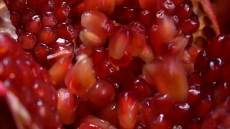 section : Juicy ripe red pomegranate seeds fall on a cut fruit of pomegranate