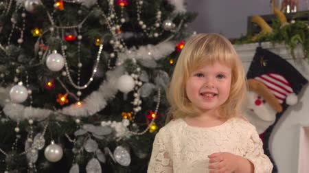 Portrait of a cute blond todler girl in beautiful dress on the background of festive Christmas decorations