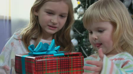 Two cute sisters in theirs pajamas receiving a gift in the morning on the background of a Christmas tree Stock mozgókép
