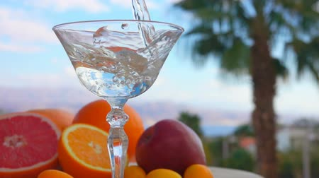 Martini is poured into a glass on a background of citrus fruits and palm trees