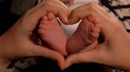 baby chubby : Hands of an adult are making a heart gesture with little adorable babys feet in a center