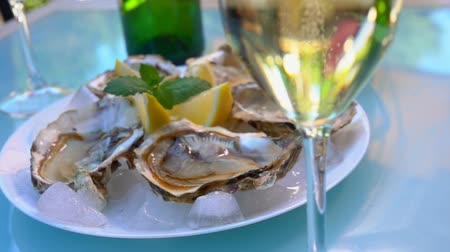 oysters : Open oysters on a white plate with ice and lemon. Panorama from a glass with champagne to plate with oysters