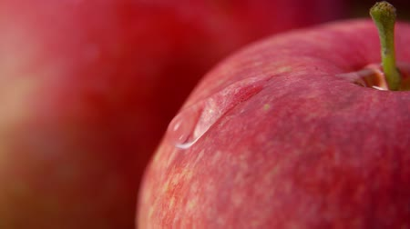 bounce : Drop of water flows down large ripe red apple. Slow motion super close-up