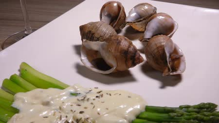 muszla : Cooked sea escargo snails with a side dish of boiled green asparagus under the cheese sauce Wideo