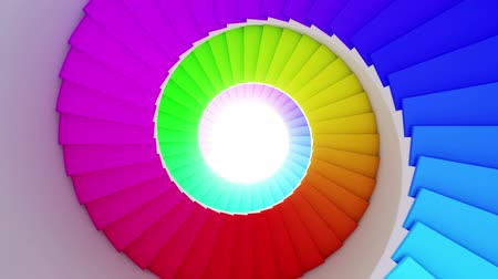 hipnoza : Colorful spiral stair to the future. Seamless loop. HD. Wideo