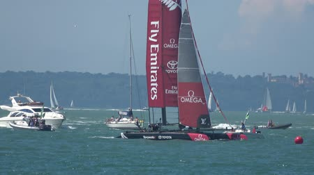 copinho : PORTSMOUTH, UK 23 JULY, 2016: The Americas Cup qualifying series - Team New Zealand prepares to deploy their gennaker.