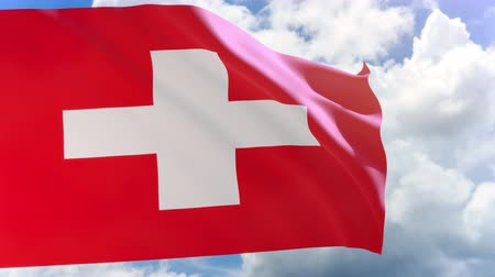 svájci : 3D rendering of Switzerland flag waving on blue sky background with Alpha channel can change background later, Switzerland is a mountainous Central European country