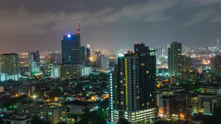 capital cities : Day to Night High rise Time lapse Bangkok skyline in Thailand, Bangkok is metropolis and favorite place for tourists in South East Asia, Panoramic and perspective High angle view of Business city