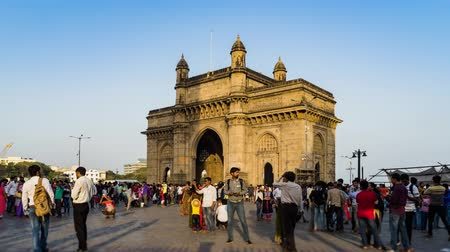 bombay : Tourist come to visiting the Gateway of India and taking photo, this is the travel destination in Mumbai India, 4K Time lapse
