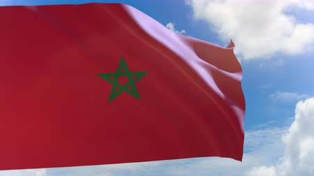 simbolismo : 3D rendering of Morocco flag waving on blue sky background with Alpha channel, Morocco a North African country bordering the Atlantic Ocean and Mediterranean Sea