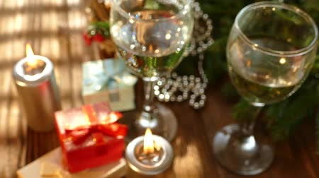 golden ribbon : New Year presents under the tree. Stock Footage