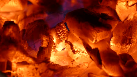 charcoal stove : The hot charcoal. The heat in the fireplace. Heat from the firewood. Fire in the fireplace. Stock Footage
