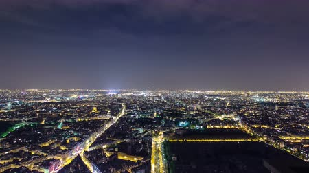 panoramic view : The city skyline at night. Paris, France. Taken from the tour Montparnasse panorama timelapse traffic 4K