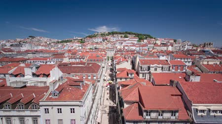 augusta : View from the Elevador de Santa Justa to the old part of Lisbon with Castle of Sao Jorge timelapse 4K Stock Footage