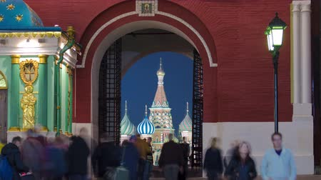 reconstructed : View to St Basils Church through Iberian Gate  Resurrection Gate of historic Kitai-gorod Wall in Moscow, Russia timelapse. The Gate between the north-western end of Red Square and Manege Square. 4K