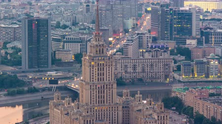 stalinist : Building formerly known as the hotel Ukraine timelapse at sunset time, refers to the seven legendary skyscrapers Stalin Moscow, Russia