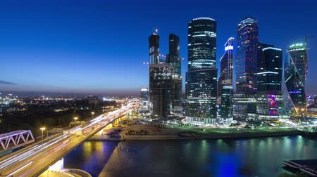 mezinárodní : Skyscrapers International Business Center City at night with Moscow river timelapse from top, Moscow, Russia 4K