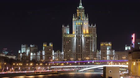 stalinist : Night view of the Kotelnicheskaya Embankment Building, one of the Seven Sisters buildings in Moscow timelapse, Russia 4K Stock Footage