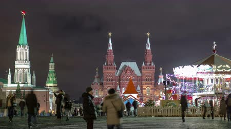 senate square : Night view of the Red Square with Christmas decoration in Moscow timelapse hyperlapse. The Red Square is a popular place to celebrate New Year and Christmas at night. 4K Stock Footage