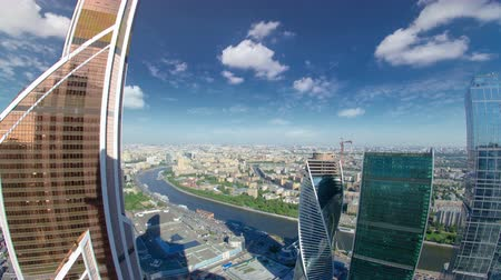 bakış : Skyscrapers of Moscow City business complex and river timelapse. from top. Moscow International Business Center Moscow City includes 20 futuristic buildings fisheye Stok Video