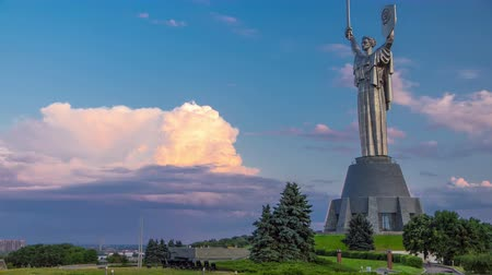 kard : Mother Motherland monument - part of Museum of the Great Patriotic War timelapse at sunset time in Kiev, Ukraine 4K