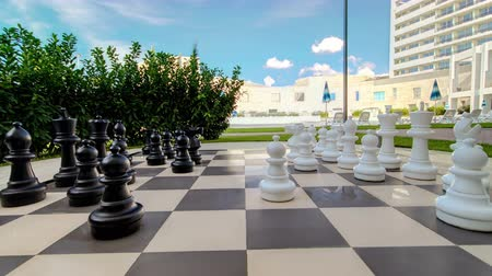 xadrez : Moving outdoor big chess in the garden timelapse stop-motion play the famous game of chess without people
