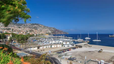 portugese : Sea port with yacht, ship in atlantic ocean view from park of Funchal, Madeira island, Portugal timelapse 4K