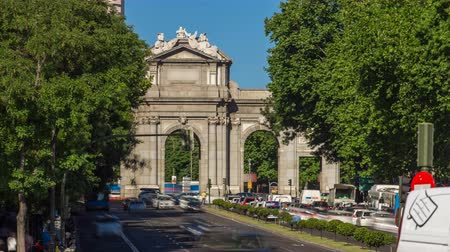 plaza independencia : The Puerta de Alcala timelapse is a Neo-classical monument in the Plaza de la Independencia in Madrid, Spain.