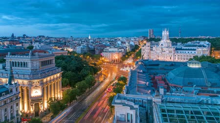 Madrid day to night timelapse, Beautiful Panorama Aerial View of Madrid Post Palacio comunicaciones, Plaza de Cibeles, Prueba, Banco de Espana, Calle de Alcala, Spain