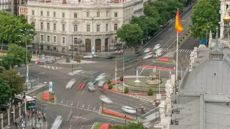 spanyolország : Madrid timelapse, Beautiful Panorama Aerial View of Madrid Post Palacio comunicaciones, Plaza de Cibeles, Spain
