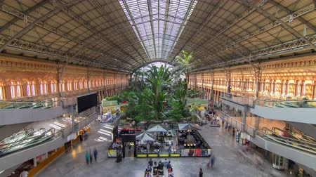 embarcadero : Tropical green house timelapse, location in 19th century Atocha Railway Station in Madrid, Spain.