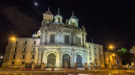 saray : Royal Basilica San Francisco el Grande night timelapse hyperlapse in Madrid, Spain.