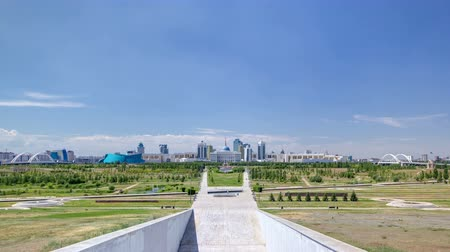 polinésia : Panorama of the Astana city timelapse and the presidents residence Akorda with park Stock Footage