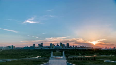 polinésia : Panorama with sunset of the Astana city timelapse and the presidents residence Akorda with park