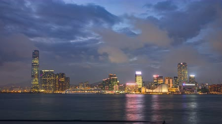 icc : Shyline panorama timelapse day to night with International Commerce Centre in West Kowloon, Hong Kong.