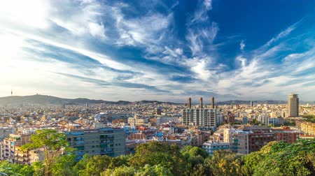 Каталония : Panorama view of Barcelona city from Montjuic timelapse in cloudy day. Catalonia,  Spain Стоковые видеозаписи