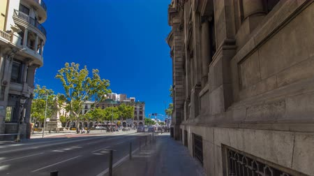 cityspace : Walking through the streets of Barcelona to monument on Plaza Antonio Lopez and Old Post Office timelapse hyperlapse, Barcelona, Spain. Stock Footage
