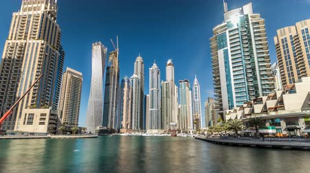 эмираты : View of Dubai Marina Towers in Dubai at day time timelapse hyperlapse